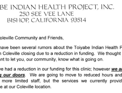 Coleville Clinic Update