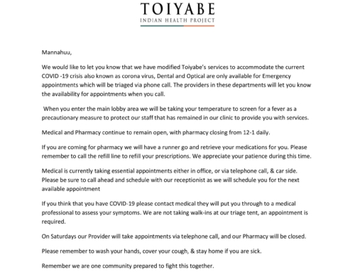 Update regarding Toiyabe's response to COVID-19