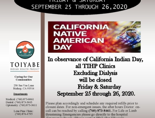 Clinic Closure in Observance of California Indian Day